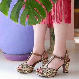 Chie Mihara Eduni snake and suede sandal Sz 37.5